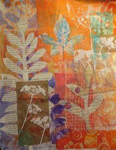 elementary printmaking monoprints on paper by janelafazio Gelli prints In progress. Art Journal Pages, Art Journals, Gelli Plate Printing, Gelli Arts, Plate Art, Art Graphique, Art Journal Inspiration, Art Plastique, Elementary Art