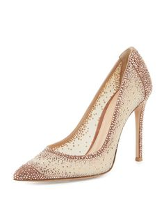 Rania Crystal Illusion 105mm Pump, Nude by Gianvito Rossi at Neiman Marcus.