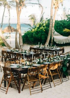 wedding reception Style Meets Sand for this Destination Wedding in Tulum Cheap Wedding Venues, Wedding Locations, Wedding Tips, Wedding Events, Wedding Planning, Wedding Parties, Wedding Timeline, Wedding Details, Simple Beach Wedding