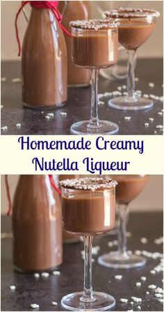 Homemade Creamy Nutella Liqueur - an easy delicious hazelnut cream liqueur. Cold or on the rocks, this is the perfect Christmas holiday drink or dessert. Super easy to make - try it this holiday season! Dessert Drinks, Fun Drinks, Yummy Drinks, Sweet Alcoholic Drinks, Homemade Alcohol, Homemade Liquor, Homemade Liqueur Recipes, Homemade Baileys, Homemade Irish Cream