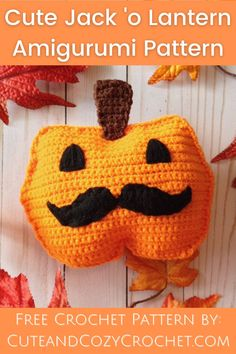 A fun Halloween amigurumi crochet pattern for free. This Jack 'o Lantern has a fun mustache and is super easy to make. It requires 2 panels and embroidery.