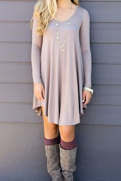 Follow Your Heart Taupe V-Neck Long Sleeve Dress
