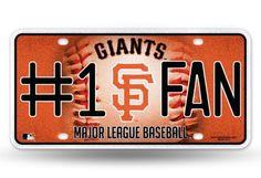MLB San Francisco Giants #1 Fan Metal Glitter Sign License Plate Tag Man Cave