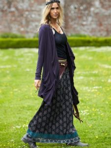 031d02ae6c6 Hippy Skirt~Bohemian Ethnic Paisley Print Maxi Skirt Long Charcoal Hippy  Winter Skirt~Fair Trade by Folio Gothic Hippy ST36