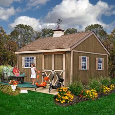 Best Barns - New Castle 16 ft. x 12 ft. Wood Storage Shed Kit with Floor including 4 x 4 Runners - Provides a 6 ft. peak height for generous storage and the paneling is primed ready to paint. Build A Shed Kit, Wood Shed Kits, Build Your Own Shed, Diy Shed, Building A Shed, Building Ideas, Storage Shed Kits, Wood Storage Sheds, Built In Storage