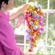 "HOLIDAY BALL CLUSTER SWAG Glitterville 23"" Christmas Birthday NEW Colorful Fun"