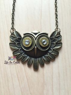 Up cycled Owl bullet necklace by Lifeincolormn on Etsy