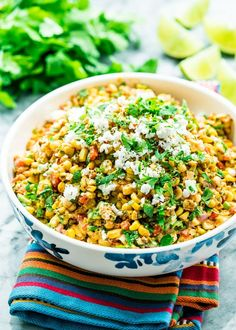 This Mexican street corn salad, also known as Esquites, is smoky, spicy, tangy and incredibly delicious. If you love the Mexican corn on the cob then you will love this version. Corn Salad Recipes, Corn Salads, Healthy Salad Recipes, Bar Taco Corn Recipe, Hominy Recipes, Salsa Recipe, Avocado Recipes, Veg Recipes, Copycat Recipes