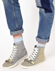 Enlarge ASOS DRAMA Studded High Top Sneakers