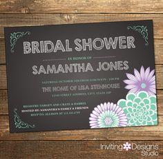Rustic bridal shower invitation wedding shower pink wine purple chalkboard bridal shower invitation lavender lavendar purple mint green rustic filmwisefo Choice Image
