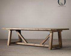 RH& Salvaged Wood Beam Rectangular Extension Table:Our salvaged beam wood tables are handcrafted of unfinished, solid salvaged pine timbers from buildings in Great Britain. Patio Table, Diy Table, Dining Room Table, Dining Rooms, Kitchen Tables, Dining Area, Long Wood Table, Wooden Tables, Farm Tables