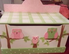 Toy chest toy box OWL and BIRDS any color or shapes by spoiltrottn, $229.00