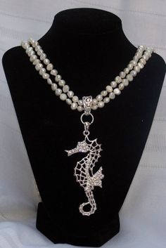 Pearl and crystal necklace by Oceanfestival on Etsy, $60.00