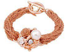 Viennois 18K Rose & Shell Pearl Bracelet.