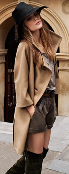 hat, thigh-high boots, neutral tones