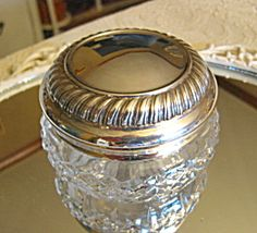 Gorgeous Waterford Crystal vanity trinket or powder box for sale at More Than McCoy on TIAS!