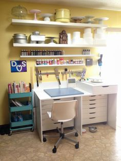 {I adore this little cake work area by Sab. She found some of her storage items at Ikea}
