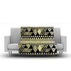 "Louise Machado ""Ethnic Chic"" Tan Black Fleece Throw Blanket"