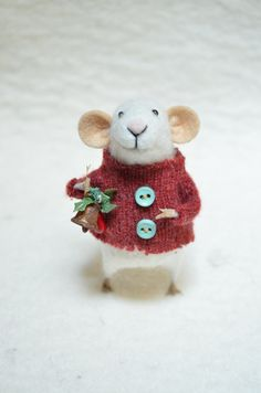 CHRISTMAS MOUSE - unique - needle felted ornament animal, felting dreams made to order, via Etsy.