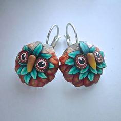 Burnt Orange & Teal Cane Sculpted Owl Earrings by Deb Hart