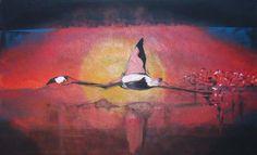 Flamingo Bird painting contamporary art Artist Painting, Art Paintings, Flamingo Bird, Contemporary Paintings, Impressionism, Abstract Art, Fine Art, Birds, Portrait