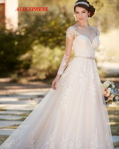 5e5c606940 Find All China Products On Sale from Mryarce Official Store on  Aliexpress.com - Mryarce Sretchy Lace Sleeves Elegant Wedding Dress Open  Back Chiffon Tulle A ...