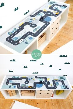 Limmaland I Designfolien & Zubehör für IKEA Möbel Game table cars. Children's table to play with. Game table for little car fans. With this furniture film you can stick different IKEA Toy Storage Solutions, Ikea Toy Storage, Playroom Storage, Ikea Kallax Hack, Wooden Toy Boxes, Ikea Table, Toy Rooms, Kids Room Design, Playroom Design