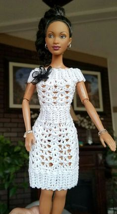 Croochet Dress made by Lilly Santiago Crochet Patterns Dress Crochet Dress made by Lilly Santiago Click Visit link above for more info crochet barbie doll clothes for beginners Jake s cocktail dress barbie This Pin was discovered by Rhofashion 20 free vin Crochet Barbie Patterns, Crochet Doll Dress, Crochet Barbie Clothes, Doll Clothes Barbie, Doll Clothes Patterns, Dress Patterns, Barbie Doll, Dress Barbie, Vintage Crochet Dresses