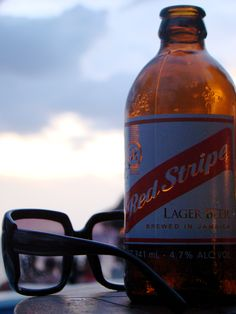 Red Stripe - Rick's Cafe, Jamaica Bus driver said this beer has the initials DG…