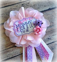 Garden Party Baby Shower Badge  Pink & Purple by HappilyEllieAfter