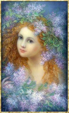 flower  art  girl  Illustration