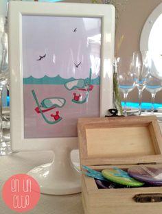 numero de mase con iconos playeros. Mesero para boda en la playa. #wedding #beachWedding