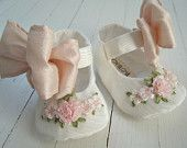 Mary Jane Shoes, Baby Girl Shoes, Antique White Vintage Taffeta, Pink SIlk Bow,Toddler Shoes, Flats, 'Katia' , Bobka Shoes by Bobka Baby