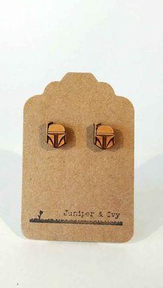 Boba Fett Laser Cut Wood Earrings, $10