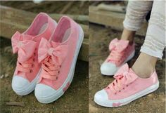Buy Fashion Clothing - Big Bow Flat Canvas Sneakers Women's Shoes - Flats - Shoes, some things are so ugly their cute. Cute Shoes, Me Too Shoes, Nike Lunar, Bow Flats, Baskets, Nike Shox, Canvas Sneakers, Crazy Shoes, Swagg
