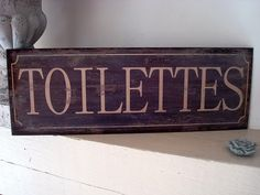 """Plaque émaillée  """"Toilettes"""" déco rétro"""