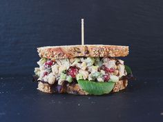 Cranberry Walnut Chickpea Salad Sandwich.  I wasn't a fan of the dressing, so I used a little mayo. A favorite in my house.