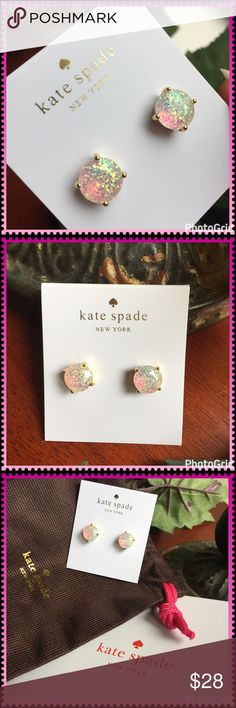 ♠️ Kate Spade opalescent earrings NEW with tags. Comes with Kate Spade gift box and brown fabric jewelry pouch. Gold-toned Glittery opalescent studs. Each earring measures approx 1 cm. Perfect for a gift giving or keep for yourself! kate spade Jewelry Earrings