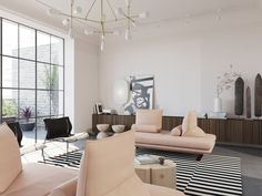 Blush pink sofa for a glamorous touch in a modern space