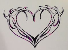 """Flame Antler Heart Vinyl Car Truck Decal 5"""" Camo Hunter Browning Outdoor Country"""