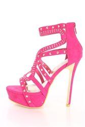 Alba Alice-2 Pink Studded Platform High Heels Faux Suede