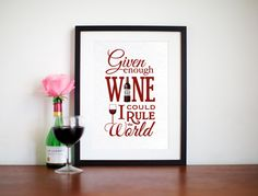 Wine Print, Kitchen Art, Quote, Given Enough WIne, Kitchen Poster, Wine Art, Dining Room Decor, Food Art, Wine Decor, Poster