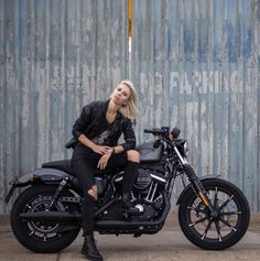 Biker girl on Iron 883.