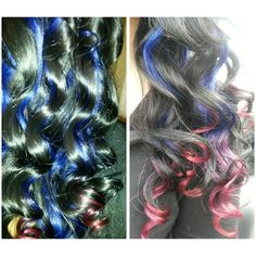 Black hair with Blue-Red extentions! Hair by ME, LISA MARIE SEPULVEDA!