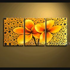 Amazing Wall Decorating Ideas Hand Painted Oil Painting Stretched Ready To Hang Egg Flower. This 3 panels canvas wall art is hand painted by Bo Yi Art Studio, instock - $135. To see more, visit OilPaintingShops.com