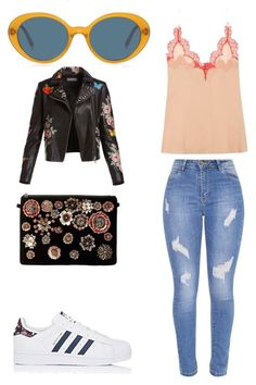 """Cool Girl Spring"" by alex-baysinger ❤ liked on Polyvore featuring Gucci, Oliver Peoples, adidas, Steve Madden and Bagatelle"