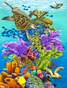 "Carolyn Steele painting tropical art print, diverse Caribbean reef scene, schools of fish, towering coral, sea turtles: ""Sea Summit"""