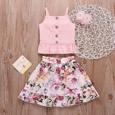 Girl pink top with floral skirt girl clothes Girl pink top with floral skirt Frocks For Girls, Little Girl Dresses, Girls Dresses, Baby Dress Design, Baby Girl Dress Patterns, Baby Girl Fashion, Kids Fashion, Baby Skirt, Mini Skirt