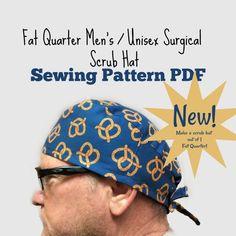 Fat quarter men's unisex scrub hat sewing pattern Scrub Hat Patterns, Hat Patterns To Sew, Sewing Patterns Free, Free Sewing, Scrubs Pattern, Fat Quarters, Surgical Caps, Scrub Caps, Unisex