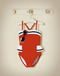 Janie & Jack 2014 Fourth of July Pool Party Ribbon Striped Swimsuit in American Red and Striped Sunglasses in American Red Dot Baby Girl Fashion, Kids Fashion, Baby Swimsuit, Striped Swimsuit, 4th Of July Swimsuits, Little Girl Closet, Princess Outfits, Kids Swimwear, Baby Boots
